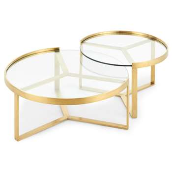 Aula Nesting Coffee Table, Brushed Brass and Glass (H35 x W90 x D90cm)