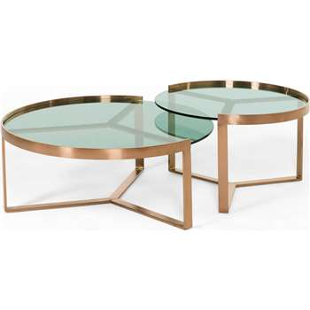 Aula Nesting Coffee Table, Copper and Green Glass (35 x 90cm)