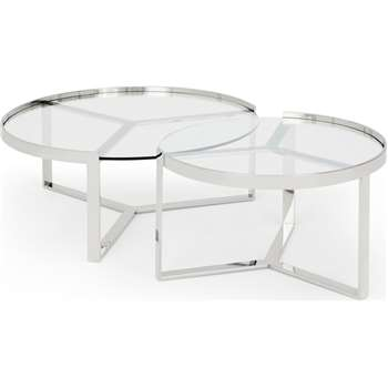 Aula Nesting Coffee Table, Stainless Steel and Glass (H35 x W90 x D90cm)