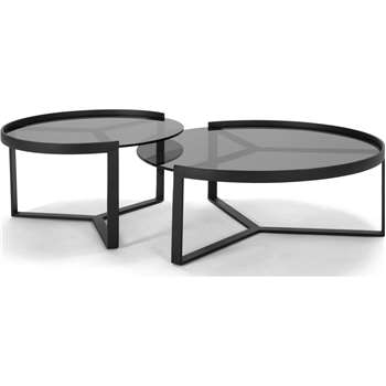 Aula Nesting Coffee Tables, Black and Grey (35 x 90cm)