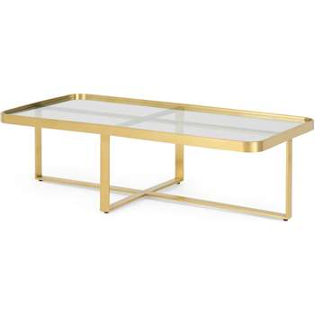 Aula Rectangular Coffee Table, Brushed Brass & Glass (H35 x W120 x D60cm)