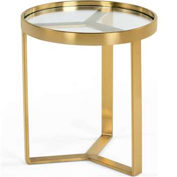 Aula Side Table, Brushed Brass and Glass (H50 x W45 x D45cm)