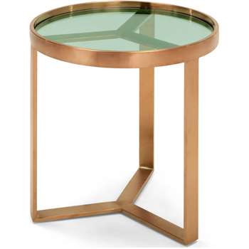 Aula Side Table, Brushed Copper and Green Glass (50 x 45cm)