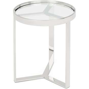 Aula Side table, Stainless Steel and Glass (H50 x W45 x D45cm)