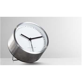 Aurelia Alarm Clock, Brushed Steel (11 x 11cm)