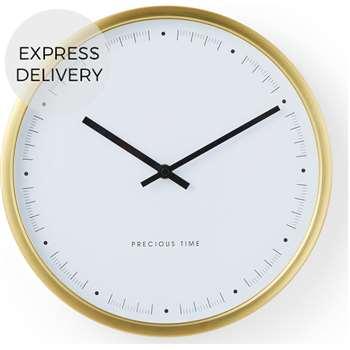 Aurelia Large Wall Clock, Brushed Brass (Diameter 50cm)