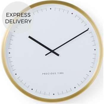 Aurelia Wall Clock, Brushed Brass (Diameter 30cm)