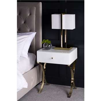 Aurelia White and Champagne Gold Bedside Table (H61 x W45 x D39cm)