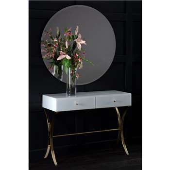 Aurelia White and Champagne Gold Dressing Console (H80 x W101 x D40cm)