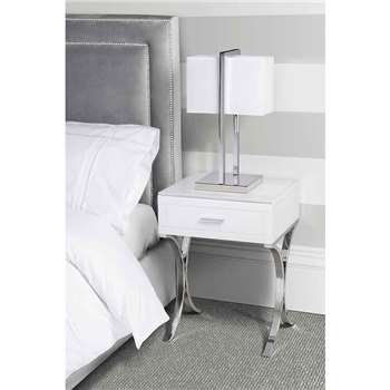 Aurelia White Glass Bedside Table (61 x 45cm)