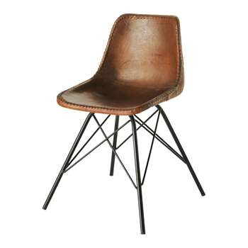 AUSTERLITZ Leather and metal industrial chair in brown (80 x 50cm)