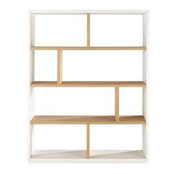 AUSTRAL Oak shelf unit in white W 155cm