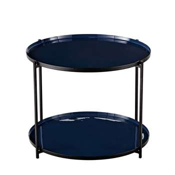 AVA Blue and Black Metal End Table (40 x 52cm)