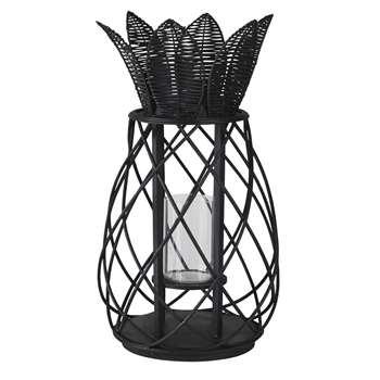 AVANA - Pineapple lantern in matte black rattan (H61 x W34 x D34cm)