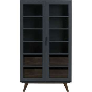 Aveiro Display Cabinet, Grey and Glass (178 x 100cm)