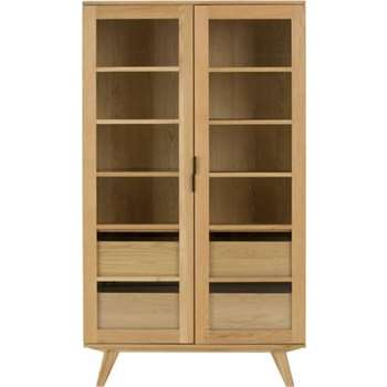 Aveiro Display Cabinet, Oak and Glass (178 x 100cm)