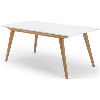 Aveiro Extending Dining Table, Natural Oak and White (75 x 180-230cm)