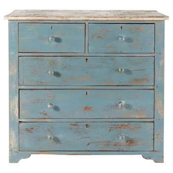 AVIGNON Distressed mango wood chest of drawers in blue (85 x 94cm)