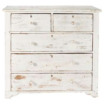 AVIGNON Distressed mango wood chest of drawers in white (85 x 94cm)