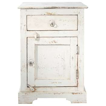 AVIGNON Mango wood bedside table with drawer in white (60 x 42cm)