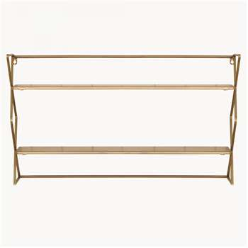 Avondale Double Metal Shelf in Brass Finish (H45 x W82.5 x D15cm)