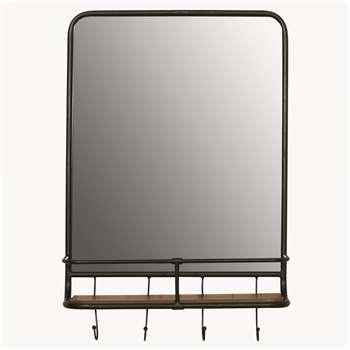 Avondale Iron Shelf Mirror with Hooks (H69 x W46 x D15cm)
