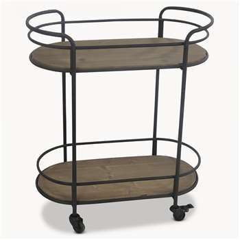 Avondale Oval Iron Drinks Trolley (H81 x W70 x D38cm)