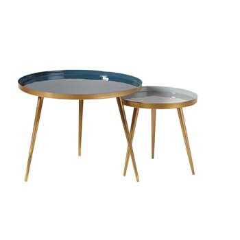 AVRIL - Nest of Tables in Blue and Gold Metal (H47 x W61 x D61cm)