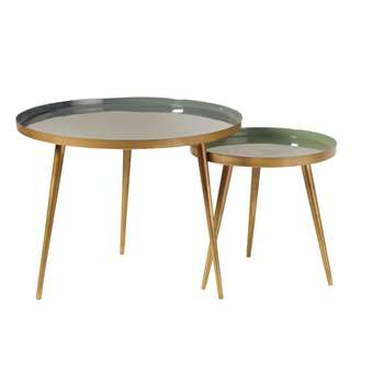 AVRIL - Nest of Tables in Green and Gold Metal (H47 x W61 x D61cm)