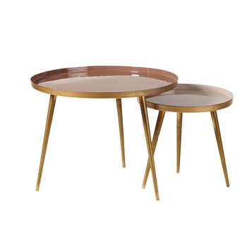 AVRIL - Nest of Tables in Pinky Beige and Gold Metal (H47 x W61 x D61cm)