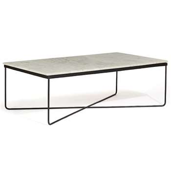 Awan Marble Top Coffee Table (H41 x W123 x D74cm)