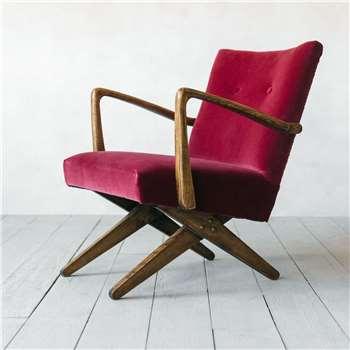 Axel Raspberry Velvet Armchair (H79 x W62 x D60cm)