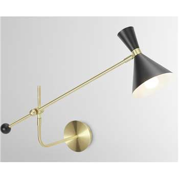 Axton Swing Arm Wall Lamp, Black & Brushed Brass (H29 x W36 x D70cm)