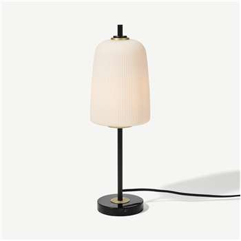 Ayala Table Lamp, Black, Brushed Brass & Opal Glass (H48 x W15 x D15cm)