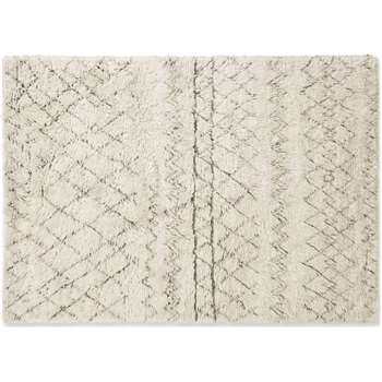 Ayla Luxury Moroccan Style Wool Berber Rug, Large, Off White (H230 x W160 x D1.7cm)