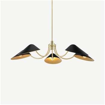 Ayo Chandelier Lamp, Black & Brass (H76 x W110 x D110cm)