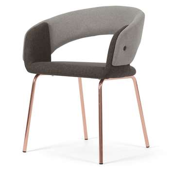 Ayrmer Chair, Grey and Copper (H79 x W56 x D55cm)