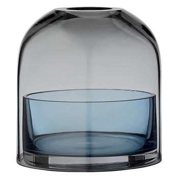AYTM - Tota Glass Lantern, Grey/Blue (10.3 x 9.3cm)