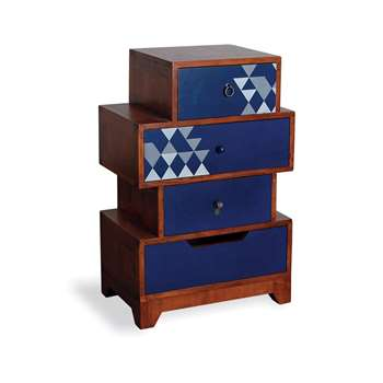 Aztec Multi 4 Drawer Chest in Navy Blue 90 x 59cm