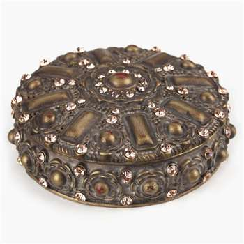 Aztec Round Jewelled Box (3 x 7.5cm)