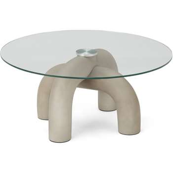 Babette Coffee table, Concrete & Glass (H36 x W80 x D80cm)