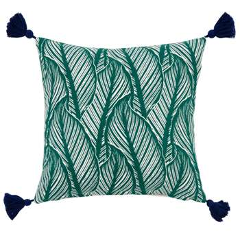 BACCHARIS - Green Cotton Cushion Cover with Foliage Print (H40 x W40cm)