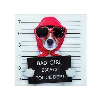 Bad girl dog glass wall art (40 x 4cm)