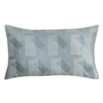 BAELEN - Blue Cotton Cushion Cover with White Print (H30 x W50cm)