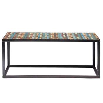 BAHIA Wood and metal coffee table, multicoloured W 100cm