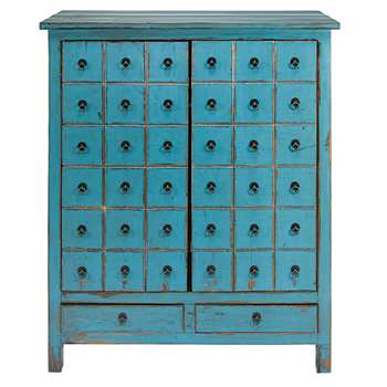 BAHO Antique blue pine 2-door, 2-drawer cabinet (H120 x W102 x D42cm)