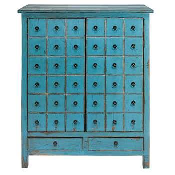 BAHO Antique blue pine 2-door, 2-drawer cabinet (H120 x W102 x D42cm)