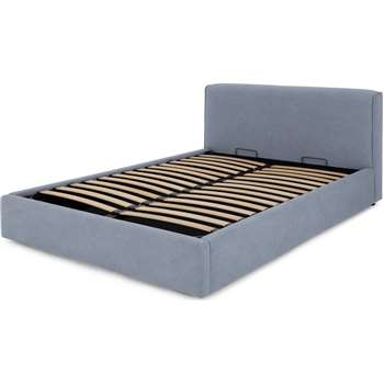 Bahra Double Ottoman Storage Bed, Washed Blue Cotton (H91 x W152 x D219cm)