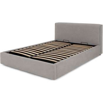 Bahra King Size Bed with Ottoman Storage, Washed Grey Cotton (H91 x W165 x D225cm)