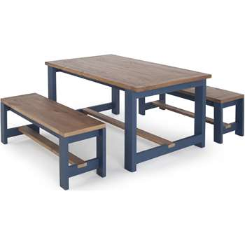 Bala Table and Bench Set, Solid Wood and Blue (74 x 140cm)